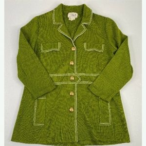 vintage 50's 60's Macy's Green sweater Gold Button